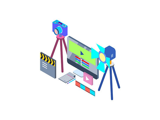 An isometric image containing equipment commonly used in Video production.
