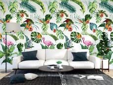 Pineapple and Flamingo Custom Wallpaper