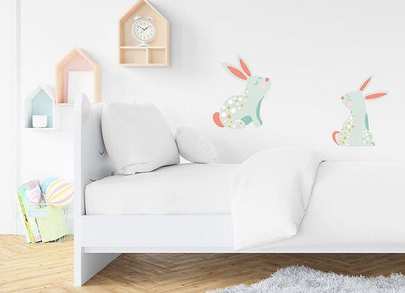 2 bedroom bunny wall stickers, easy apply cute pastel, bedroom playroom decor