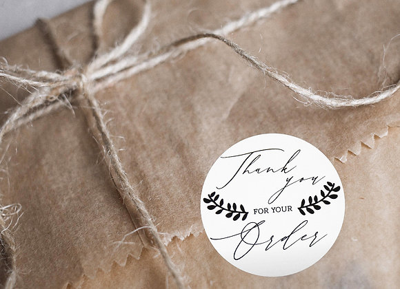 "Thankyou sticker ""Thankyou For Your Order"""