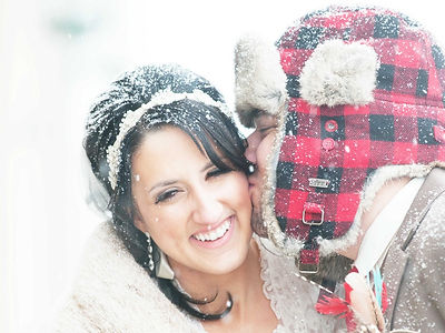 Groom Winter Hat Kissing Bride