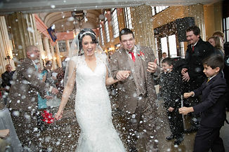 Snow Send Off Happy Wedding Couple at Red and Teal Wedding in New Castle, PA Photo by R. Fritz Photography