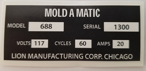 Mold-a-Matic Serial Number Plate Sticker