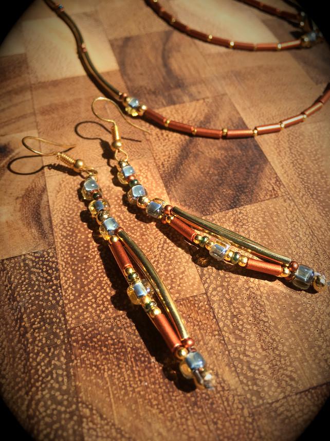 Hammered Copper and Aquamarine
