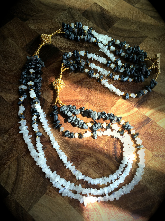 Moonstone and Snowflake Obsidian