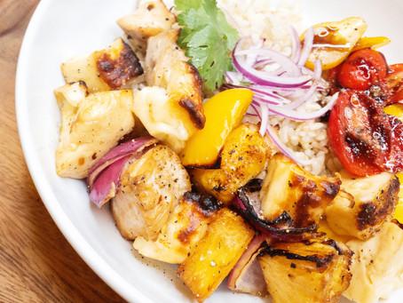 halloumi, pineapple & chicken skewers