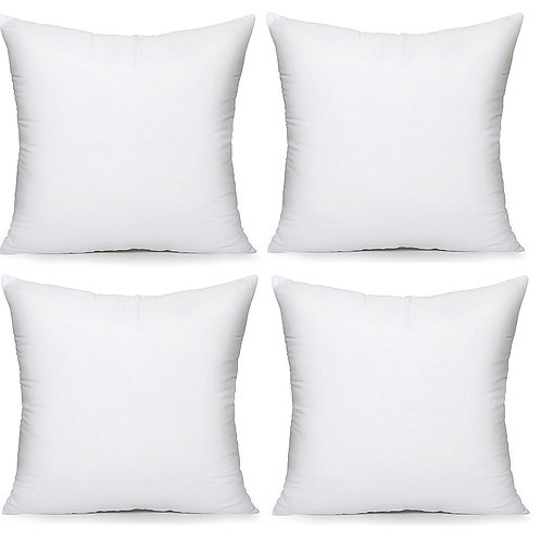Acanva Hypoallergenic Pillow Insert Form Cushion, 16 x 16, Set of 4