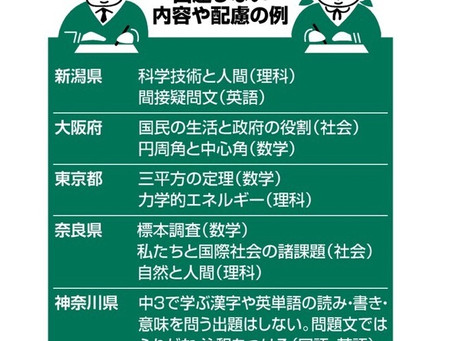ELS21 公立高入試、6都府県で出題範囲縮小‼️