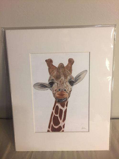 Henry Giraffe Matted Print