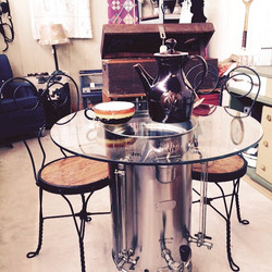 New at Rices Market New Hope Pa 3pc bistro set - base is a vintage repurposed commercial coffee pot
