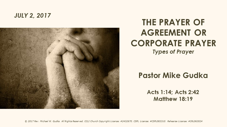 The Prayer Of Agreement Or Corporate Prayer Clarion First United