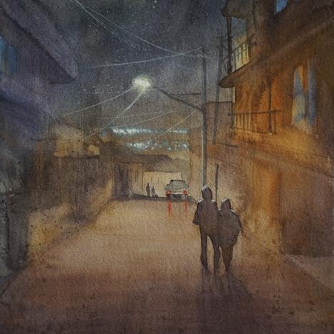 Night time in kadifekale, 14x11