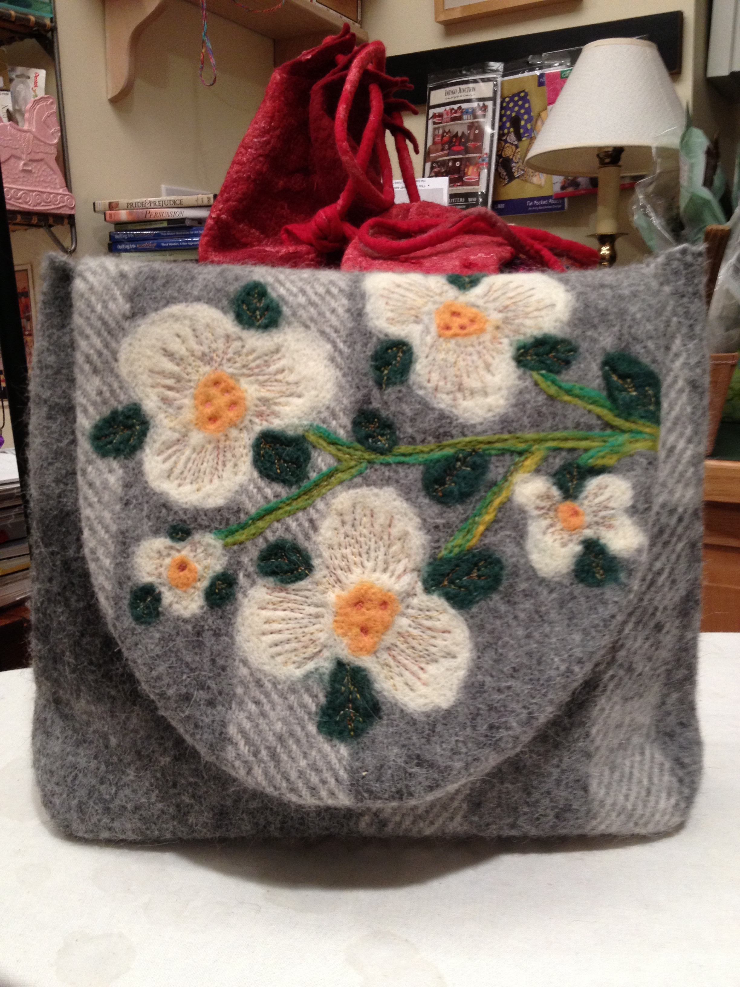 Recycled wool and felted purse