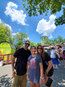 Adventureland while family visits from out of state.  The water rides helped cool us down on this hot day.