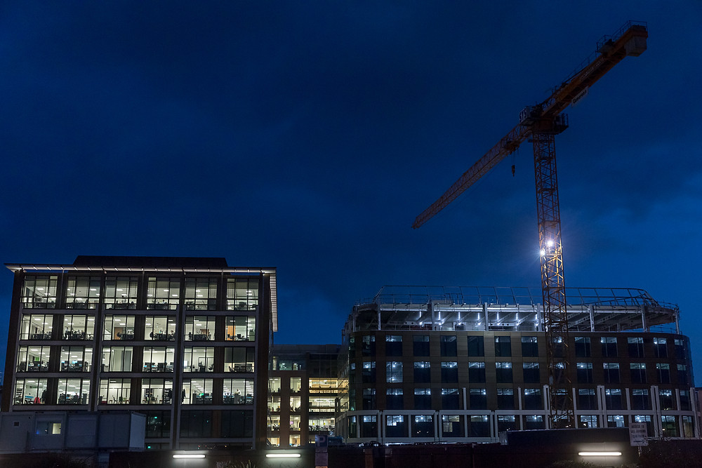 Commercial property photography, the jersey financial centre at night