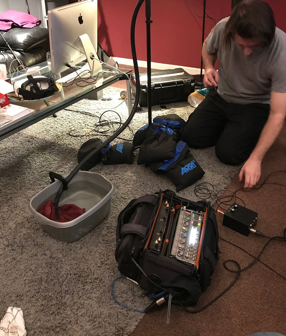 Nick Davies recording sound effects for short film Stretch