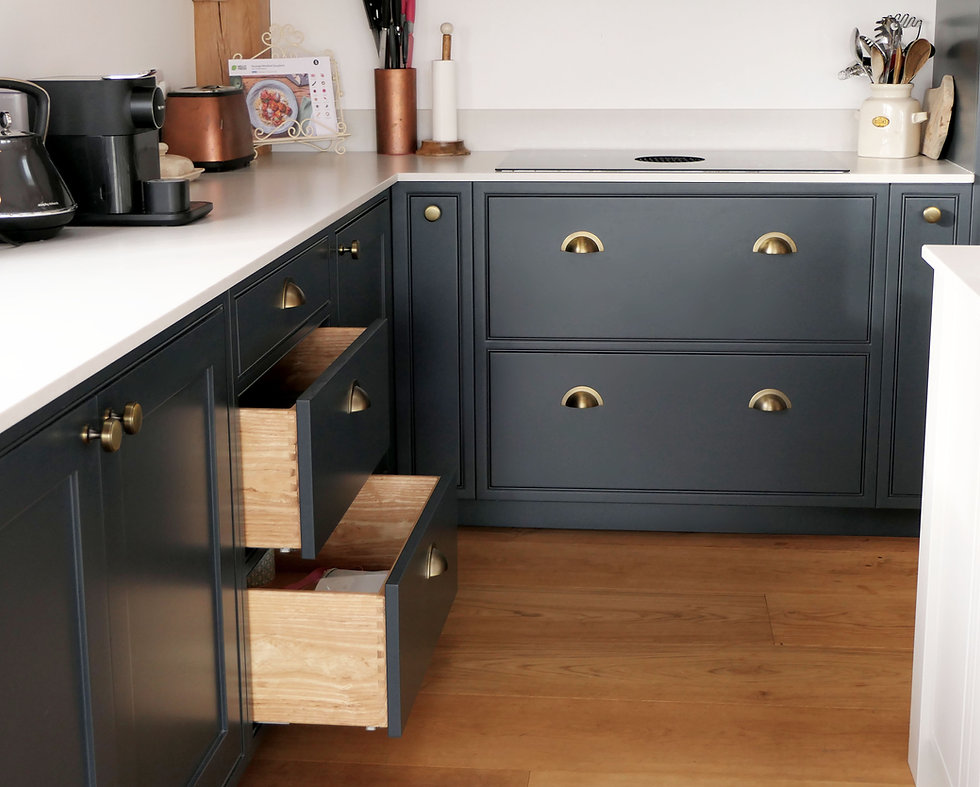 Ash drawers in a grey kitchen with brass handles