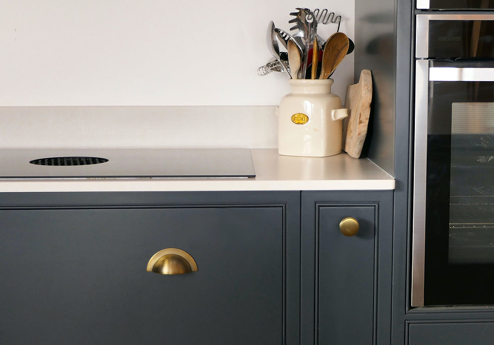 Close up of pencil beading and an integrated Bora extractor hob in a grey handmade kitchen decorated with brass handles