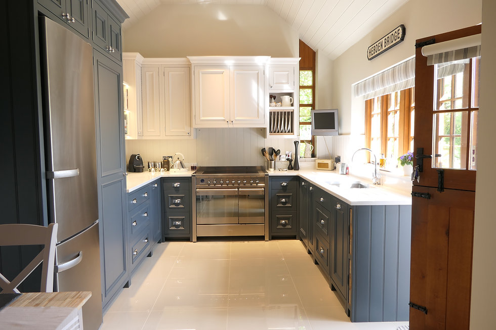Two-toned white and blue handmde kitchen with bolection moulding for detail on the handmade doors and drawers
