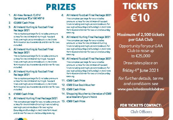 Get Your GAA National Club Draw Tickets