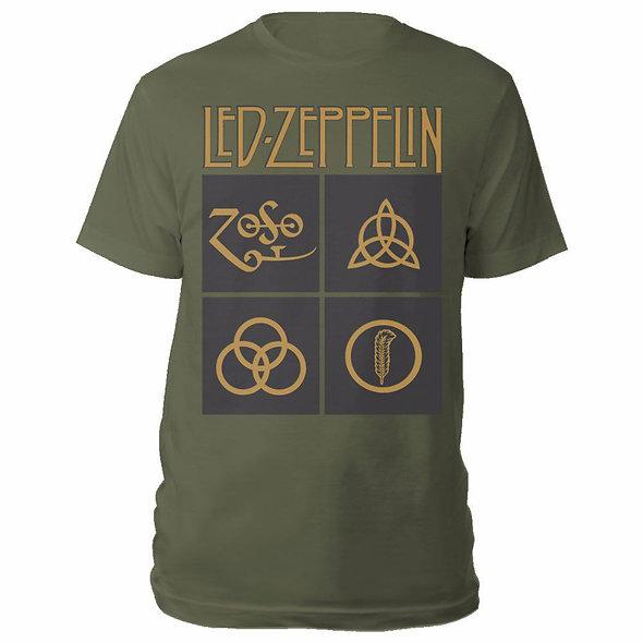 Led Zeppelin Unisex Tee : Gold Symbols in Black Square