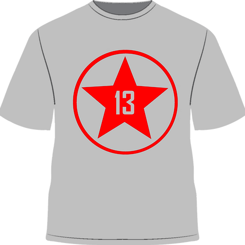 Any Red Star 13 Grey Large Logo Tee + Wristband