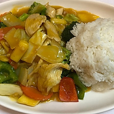 Mango Chicken with jasmine rice