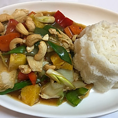 Cashew nut chicken with jasmine rice