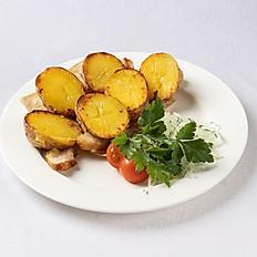 Картофель с курдюком или салом на углях
