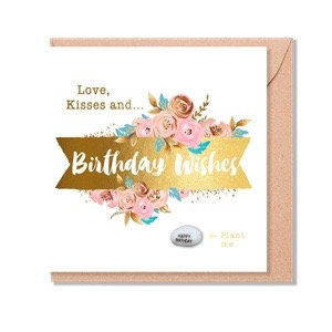 Birthday Card With Magic Growing Bean - Love, Kisses & Birthday Wishes