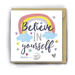 Greetings Card 'Believe In Yourself' With Magic Growing Bean