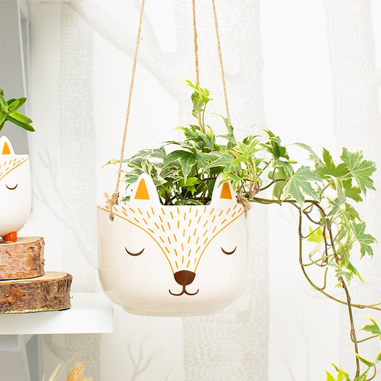 Fun, Quirky and Unique Home & Giftware | Cute Fox Face (White & Orange) Indoor Hanging Planter for Trailing House Plants