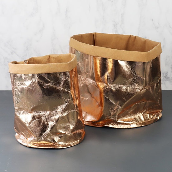 Quirky Unusual Small Indoor Rose Gold Planter Pot or Storage Bag. Home accessory and fun gift.