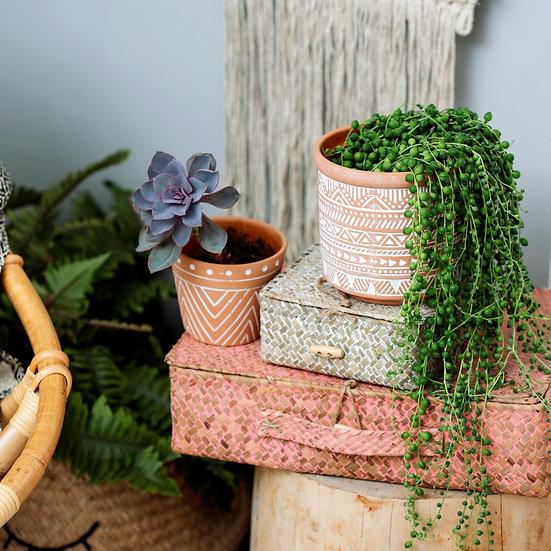 Boho Scandi Terracotte Geo Indoor Planter Pot for House Plants.