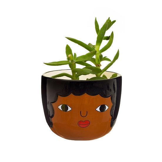 Fun Mini Indoor Planter Pot (Small Succulent House Plant Pot) With brown female Face Design. Unusual Pot home accessory gift.