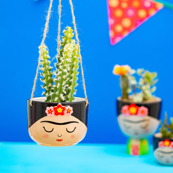 Fun Frida Kahlo Indoor Hanging Planter Pot for Trailing House Plants. Vibrant Mexican Style Home Accessory for Indoor Garden.