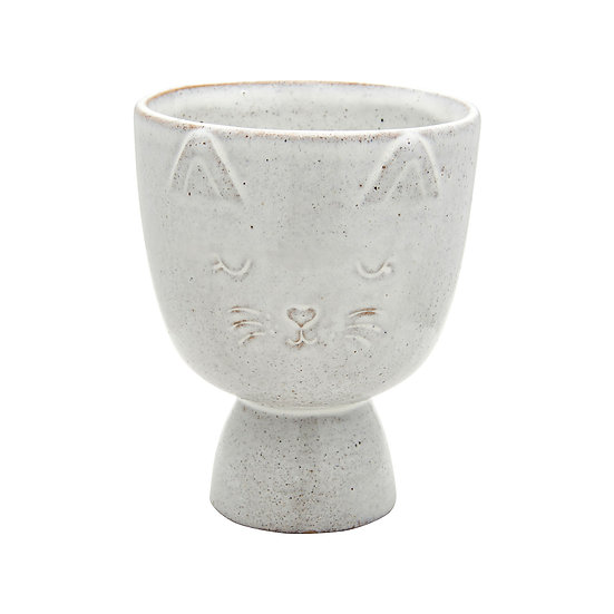 Fun, Quirky and Unique Home & Giftware | Stone Cat Face Engraved Indoor Planter (Plant Pot) For House Plants