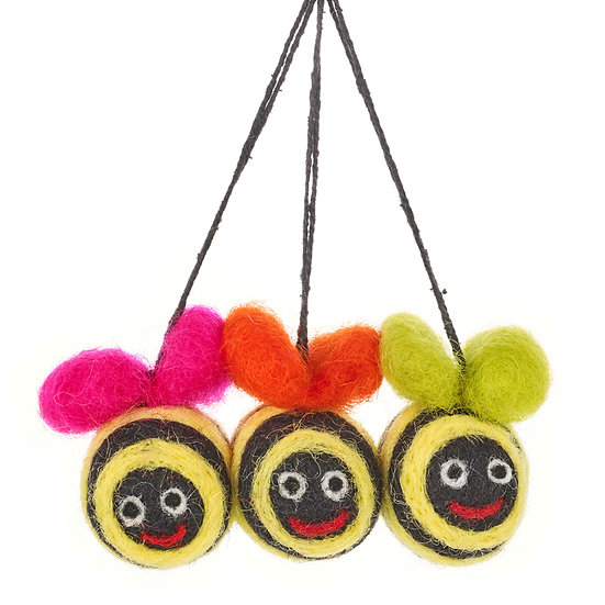 Fun Cute Hanging Colourful Needle Felt Bee Decoration Home Accessory/Ornament. Unusual quirky vibrant Gift