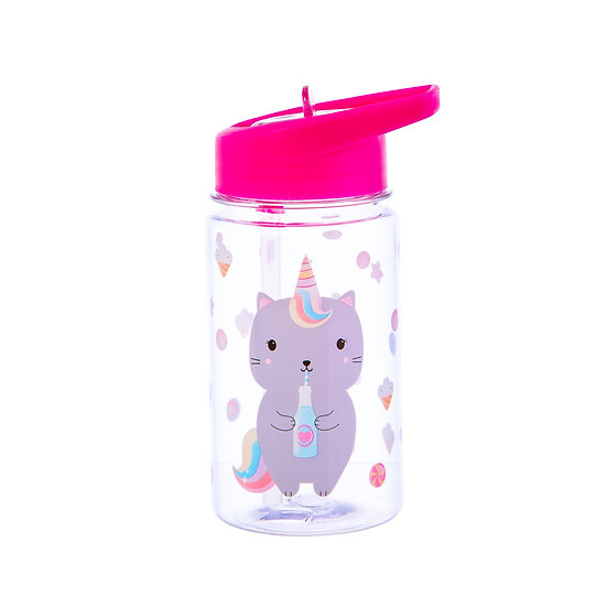 Fun, Quirky and Unique Home & Giftware | Kids Pink Water Drink Bottle No Spill Caticorn Design