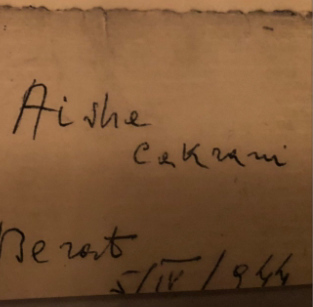 Kadri's note on back of nurses' photo, giving them his own last name for travel documents to get by the Nazi garrisons.