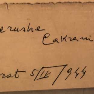 Kadri Cakrani's notes on the back of his photos of the American nurses he sheltered from the Nazis. He gave them his own last name for their forged IDs.