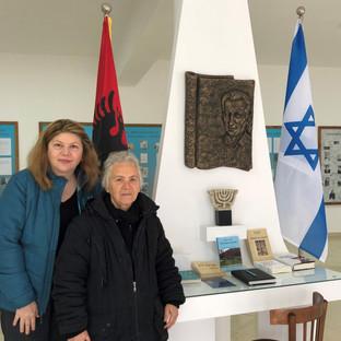 Mrs. Angjelina Vrusho, Museum Director (right), with writer Elizabeth Cakrani Vrato at the Solomon Museum in Berat, Albania, February 2020.