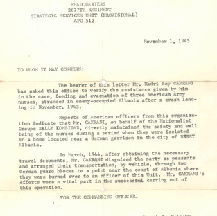 """Letter dated November 1, 1945, from US military verifying the assistance Kadri bey Cakrani gave """"in the care, feeding and evacuation of three American Army nurses, stranded in enemy-occupied Albania after a crash landing in November, 1943."""""""