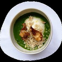 veloute de cresson froid au condiment bergamote et chou fleur pour inners marque de complement alimentaire
