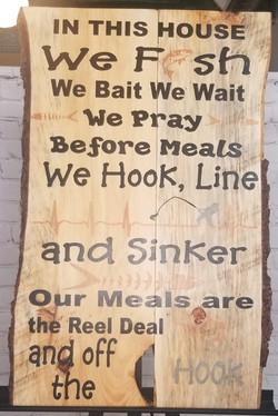 Live Wood Fishing Sign