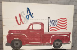 Red USA truck Wood Sign
