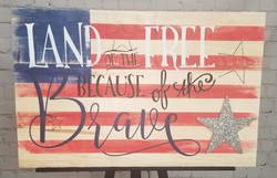 Land of the Free Wood Sign