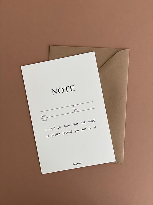 """Postkarte mit Umschlag   """"NOTE""""   pastellgelb"""