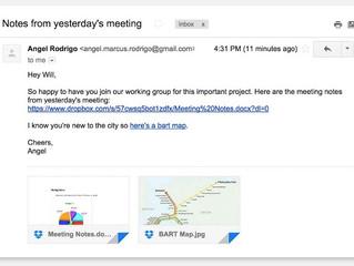 Dropbox s'intègre mieux à Gmail