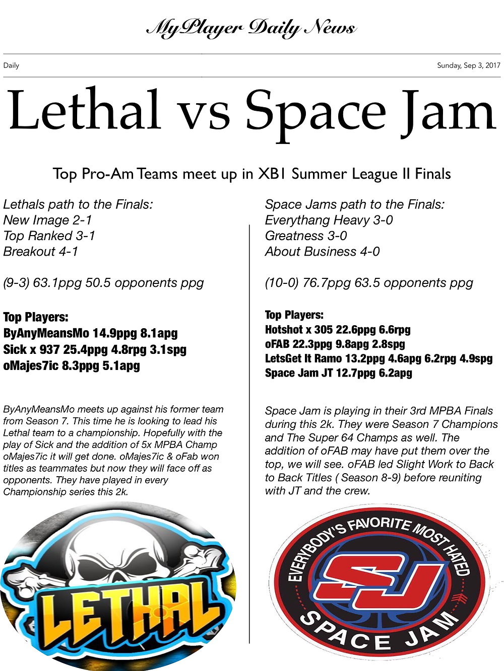 XB1 Summer League Finals